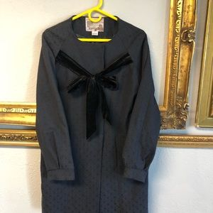 Kensie Black Long Jacket Velvety Ties